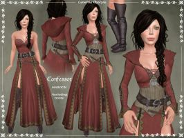 Confessor Outfit MAROON by Elvina-Ewing