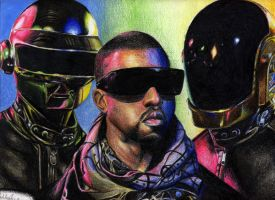 Kanye West Daft Punk Portrait by SketchbookFlavor