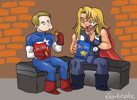 Thor and Captain America taste Doritos by theperfectbromance