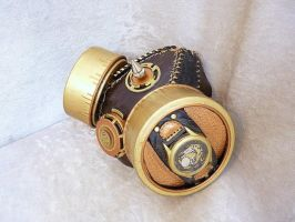 Gold-brown tribal gas mask by Serata