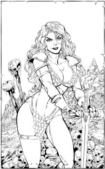 Inks: Red Sonja by E Garcia by JimCampbell