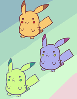 Pikachu color variations by dasher549