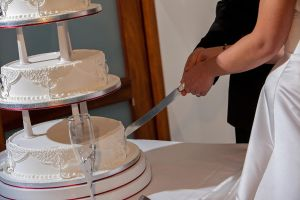 Wedding cake getting ready to be cut by zippy6234