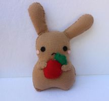 Brown Bunny with turnip Plush by PinkChocolate14