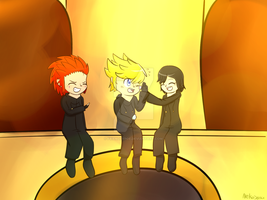 Axel,Roxas,and Xion by FriendlyPoe