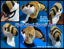 Tiger shark fursuit head [SOLD] by dragon-x2