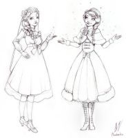 Anna and Elsa in lolita fashion (sketch) by Moon-In-Milk