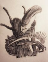 Unfinished Alien drawing by joebentley10