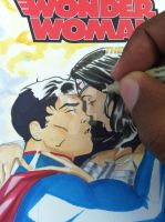 Superman Wonder Woman ink color detail by martheus
