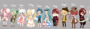 Selfy Adopts: Months [CLOSED] by LungwortTea