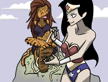 Wonder Woman Tickles Cheetah by PawFeather