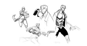 Hellboy roughs 1 by RJN16