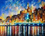 GREEK HARBOR by Leonid Afremov by Leonidafremov
