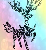 Tribal Xerneas (improved) by Gemini-0601