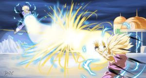 :Commission-Trunks and Gohan power battle by PhantomStudio-Tommy