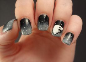 House Stark nail art by AStudyInPolish