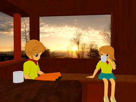 Autumn Evening in the Cabin by Tonypilot