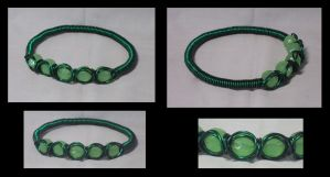 emerald green wire bangle by ACrowsCollection