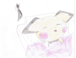 vincent the pichu sleeping by Virexius