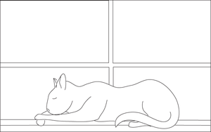 line art-sleepy kitty by RevRuby