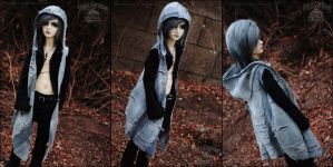 FS: Decaying Grey - hooded long vest by kuroi-carousel