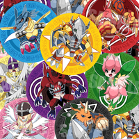 Digimon Adventure Buttons [ON SALE] by seiryuuden