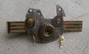 Steampunk Tie Clip with Vintage Watch Parts by SacredJourneyDesigns