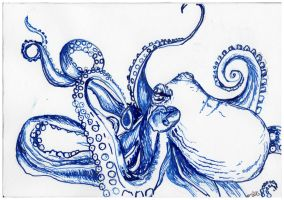Octopus in Blue India Ink by ATatteredCanvas