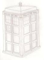 TARDIS line art uncolored by MrsBowie1983