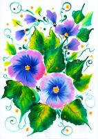 Violet flowers - folk art traditional painting by EkaterinaChernova