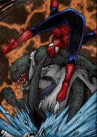 Spider-man vs Lizard with rain by jeaf7
