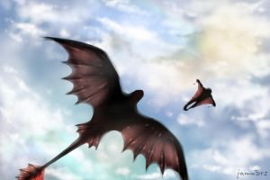 Toothless and Hiccup. by jamm3rs