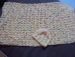 Crochet baby blanket and hat by mysteriousmage