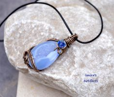 Chalcedony wire wrapped pendant by IanirasArtifacts