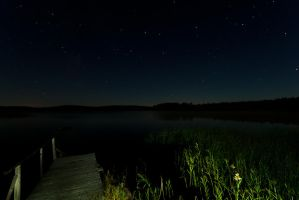 Starry Night over Tyngsjon lake by duncan-blues