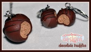 Chocolate Truffle Earrings and Necklace by mikuberries