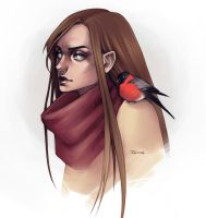 Girl with bird by sashajoe