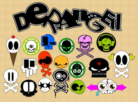 Deranged Skull Sticker Set by HyroGlyphIQ