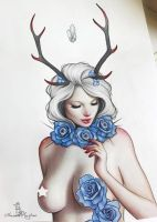 Antlers and roses by Anna-Marine