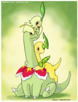 chikorita family color grass by PEQUEDARK-VELVET