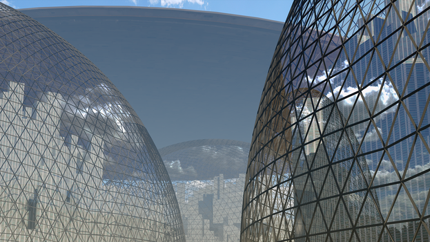 Mother Ship over the Domed Citites by MontaraMike