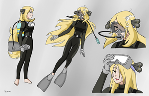 Cynthia Scuba Concept Sheet - Color Commission by BlueHedgehog25
