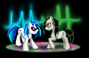 Vinyl Scratch and Skrillex pony by FlameCurry