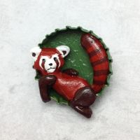 Lazy Pabu Bottle Cap Sculpture by LeiliaClay