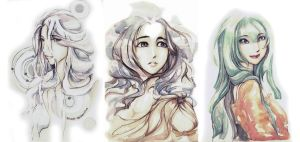 watercolor - girls by sweet-osmanthus