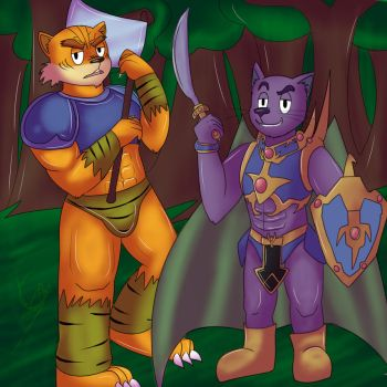 Toon Tiger Axe and Panther warrior! by Gabu-Gabu