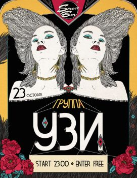 GIG POSTER FOR UZI BAND by DragonOfLust