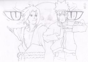 Naruto and Sasuke by Sorasuzu