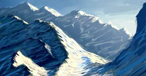 Snowy mountains - speedpaint by secrethaven