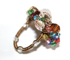 Rainbow Wire Wrapped Ring by FranyaBlue